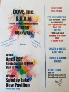 DOVE, Inc. Color Run/Walk @ Sunday Lake Pavilion | Wakefield | Michigan | United States